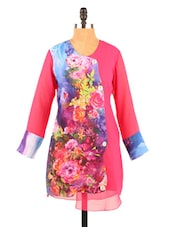 Floral Print Long Sleeve Kurti - Fashion 205