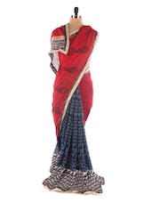 Red And Navy Blue Printed Saree - Saraswati