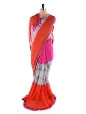 Pink And Orange Printed Georgette Saree - Saraswati