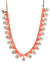 Gold And Orange Metal Alloy Necklace - By