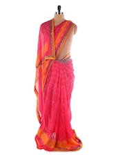 Pink Printed Georgette Saree - Saraswati