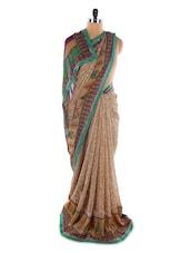 Brown Printed Georgette Saree - Saraswati