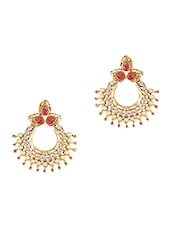 Gold And Pink Stone Work Crystal Studded Earrings - By
