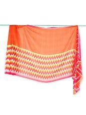 Orange Printed Georgette Saree - Saraswati