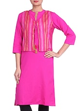 Pink Cotton Printed Kurta With Jacket - By