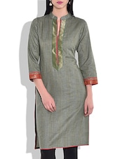 Olive Green Three Quarter Sleeve Kurta - By