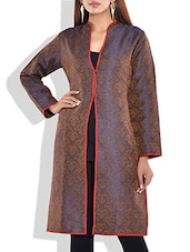 Blue And Brown Full Sleeves Jacquard Kurta - By