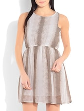 Off White And Brown Poly Georgette Gathered Dress - By