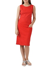 Red Lycra, Net Sleeveless Dress - By
