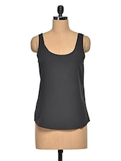 Black Polyester Plain Sleeveless Top - Oxolloxo