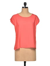 Red Casual Cap Sleeves Top - Oxolloxo