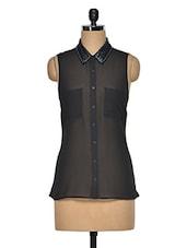 Black  Polyester Embellished Shirt - Oxolloxo