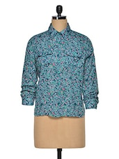 Blue  Cotton Floral Shirt - Oxolloxo