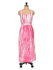Pink-White Tie & Dye Casual Dress - Oxolloxo