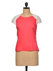 Pink Color Block Polyester Top - Oxolloxo