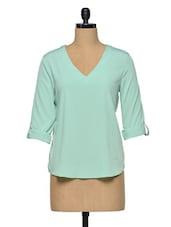 Green Plain Polyester Top - Oxolloxo