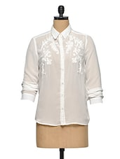 White Embroidered Sheer Shirt - Oxolloxo