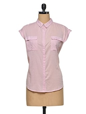 Pink Plain Cotton Shirt - Oxolloxo