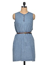 Light Blue Sleeveless Denim Dress - Oxolloxo