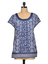 Blue Cotton  Wheel Print Casual Top - Oxolloxo