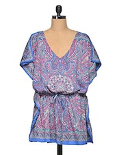 Multicolored Printed Kaftan Short Dress - Oxolloxo