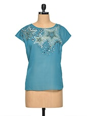 Star Pattern Embellished Short Sleeve Top - Aaliya Woman