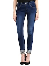 Blue Denim Jeans With Embellishment At Bottom - By