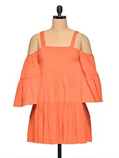 Orange Bell Sleeve Summer Dress - Aaliya Woman