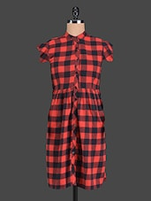 Red & Black Checked Cotton Dress - Aaliya Woman