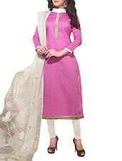 Pink And White Jacquard Unstitched Suit Set - By
