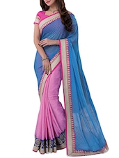 Blue And Pink Embroidered Jacquard Crepe Saree - By