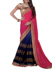 Pink And Navy Blue Embroidered Chiffon Saree - By