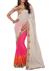 Pink And White Embroidered Chiffon Saree - By