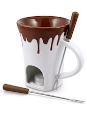 White And Brown Ceramic Fondue Mug Set - By