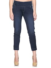 Dark Blue Cotton Ankle Length Jeggings - By
