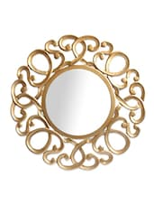 Gold Carved Wood Circular Mirror Frame - By