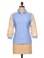 Blue-peach Cotton Silk Shirt - RENA LOVE