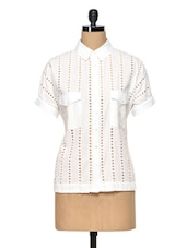 Laser Cut White Cotton Shirt - RENA LOVE