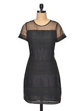 Black Evening Dress With Mesh Inserts - RENA LOVE