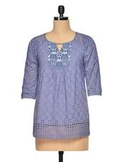 Lasercut Blue Cotton Top - RENA LOVE