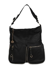 Black Leatherette Hobo Bag - By