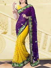 Yellow And Purple Chiffon Saree - By