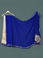 White Blue Net ,georgette Designer Party Wear Saree - Aakriti