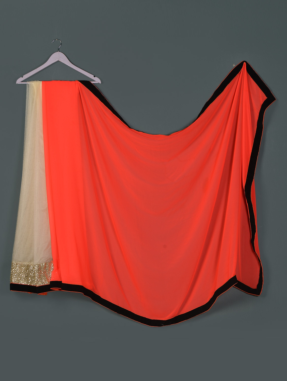 Orange Offwhite Net ,georgette Designer Party Wear Saree - Aakriti