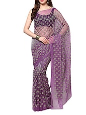 Mauve Velvet Flocking Net Saree With Blouse - AKSARA