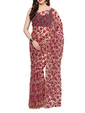 Magenta Velvet Flocking Net Saree With Blouse - AKSARA