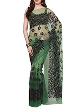 Green Velvet Flocking Net Saree With Blouse - AKSARA