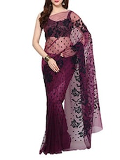 Wine Velvet Flocking Net Saree With Blouse - AKSARA