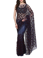 Blue Velvet Flocking Net Saree With Blouse - AKSARA