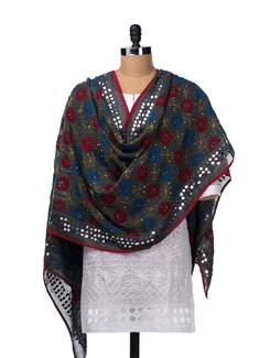 Grey Hand Crafted Phulkari Dupatta - Vayana